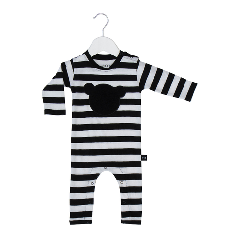 Huxbaby Organic Cotton Shadow Bear Applique Long Romper, Stripes