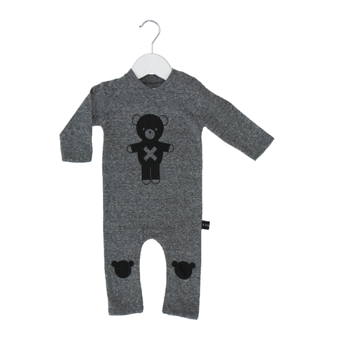 Huxbaby Organic Cotton Soldier Bear Long Romper, Grey Marle