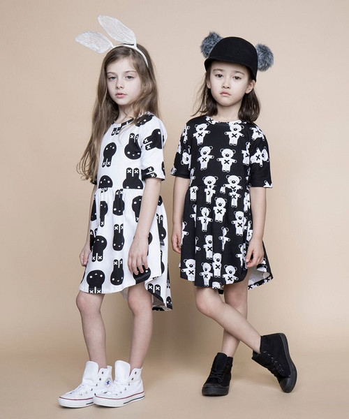 Huxbaby Organic Cotton Hux Bunny Swirl Dress, Black and White