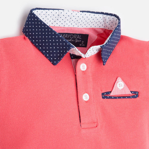 Mayoral Boy short sleeve polo with contrast collar, Lychee