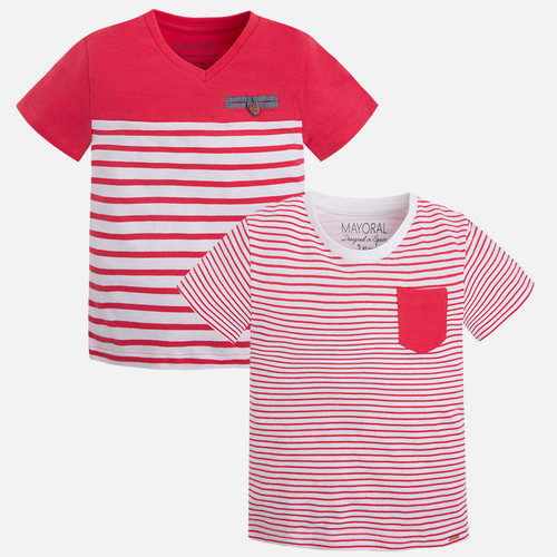 Mayoral Boy short sleeve striped t-shirt, Watermelon