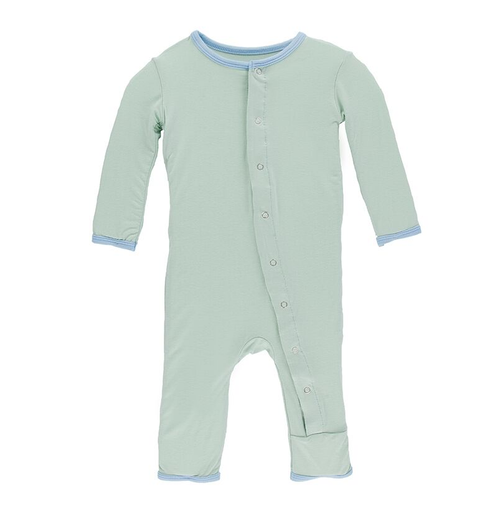 Kickee Pants Solid Coverall, Aloe with Pond