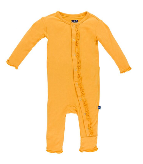 Kickee Pants Solid Ruffle Coverall, Fuzzy Bee