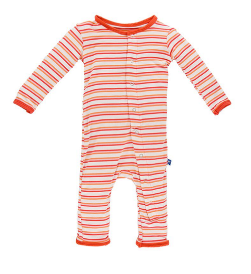Kickee Pants Print Coverall, Girl Fresh Water Stripe
