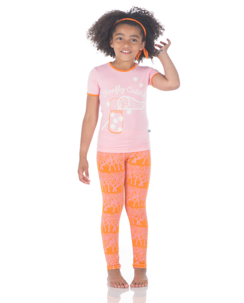 Kickee Pants Print Short Sleeve Pajama Set, Sunset Fireflies