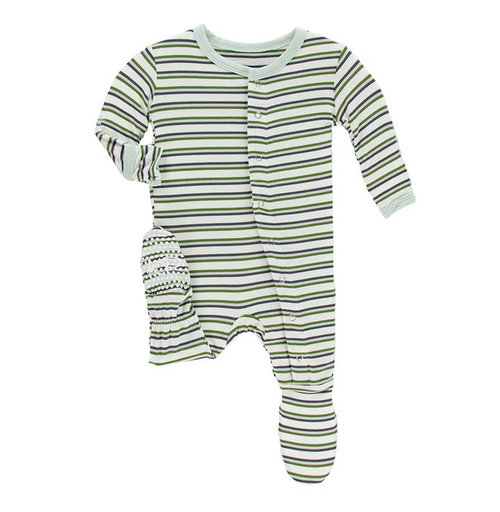 Kickee Pants Print Footie, Boy Fresh Water Stripe