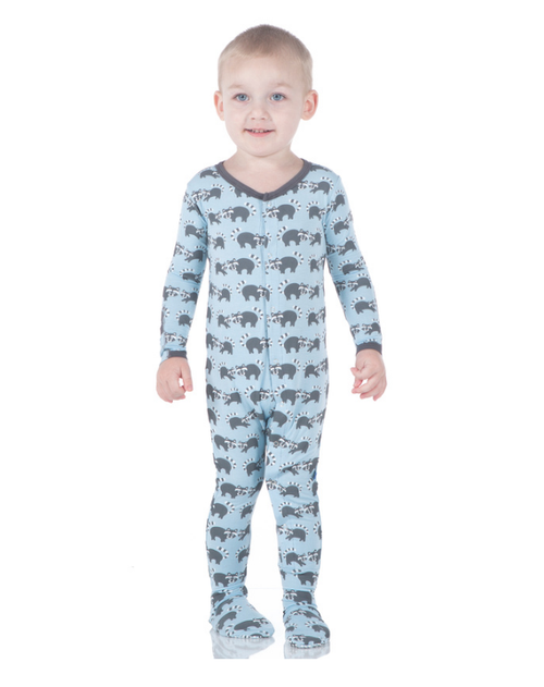 Kickee Pants Print Footie, Pond Raccoon