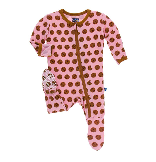 Kickee Pants Print Footie, Lotus Cookies [Zipper]