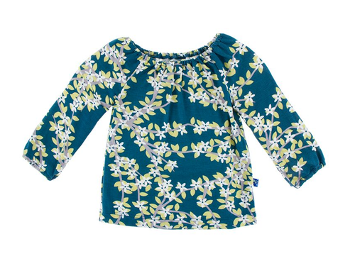 Kickee Pants Long Sleeve Peasant Top, Peacock Tree Canopy
