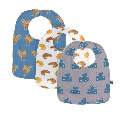 Kickee Pants Bib Set of 3 - Parisian Rooster, Natural Croissant & Feather Mouse and Cheese