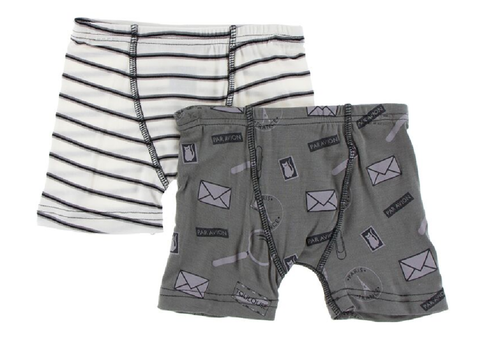 Kickee Pants Boxer Briefs Set of 2 - Neutral Parisian Stripe & Par Avion