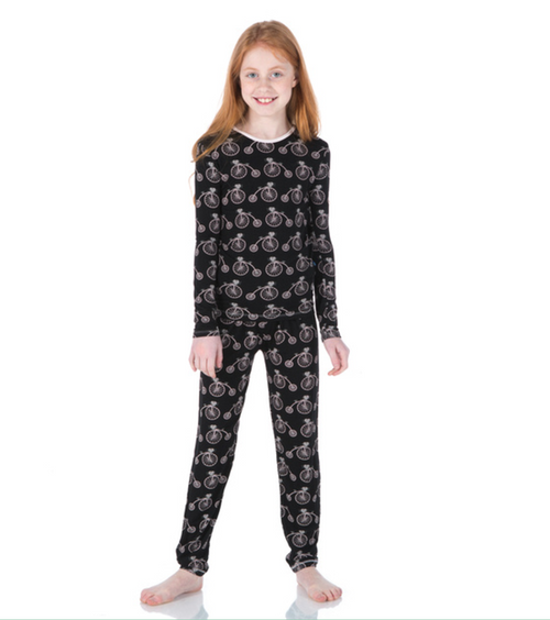 Kickee Pants Print Long Sleeve Pajama Set - Girl Midnight Bikes