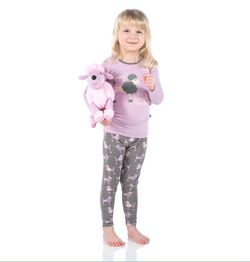 Kickee Pants Print Long Sleeve Pajama Set - Cobblestone Poodle