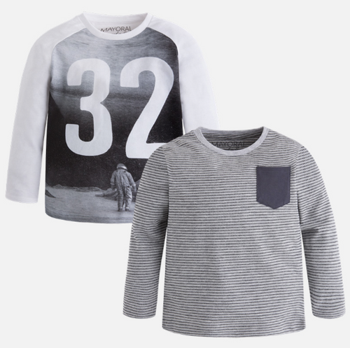 Mayoral Boy long sleeve print t-shirts set, Smoke
