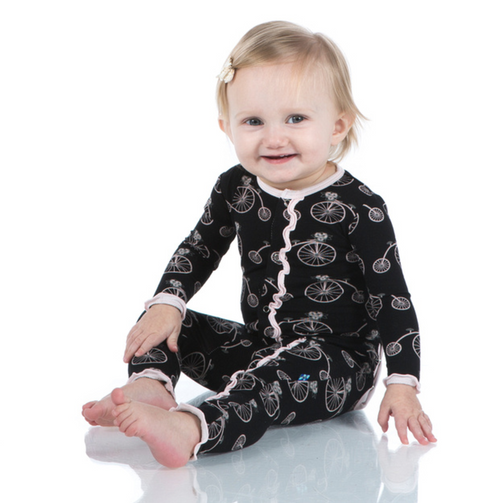 Kickee Pants Print Ruffle Coverall with Snaps - Girl Midnight Bikes