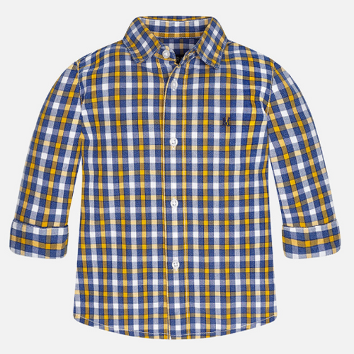 Mayoral Boy long sleeve check shirt, Turmeric