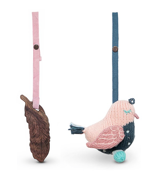 Finn + Emma 2pc Stroller Buddy Set (Penny Pigeon & Feather) - Pink