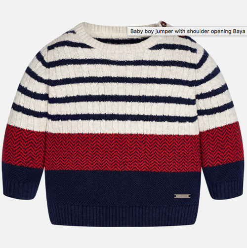 Mayoral Baby Boys Striped Sweater, Navy/Blackberry