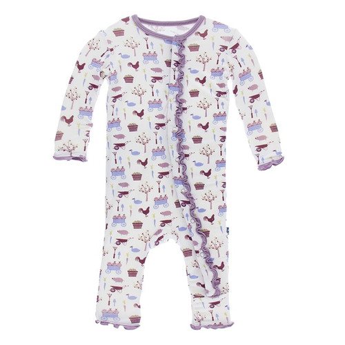 Kickee Pants Print Ruffle Coverall with Snaps - Girl Natural Farm