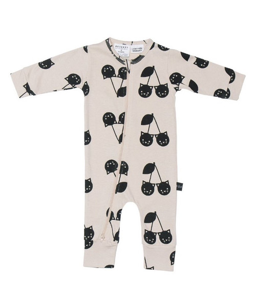 Huxbaby Organic Cotton Cherry Cat Zip Romper