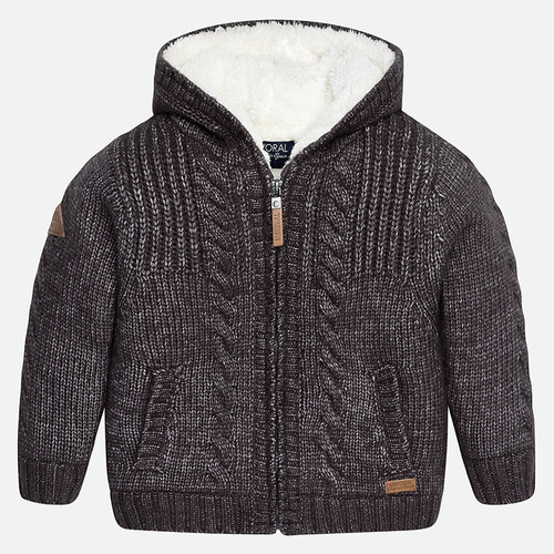 Mayoral Boys Lined Knit Cardigan, Slate