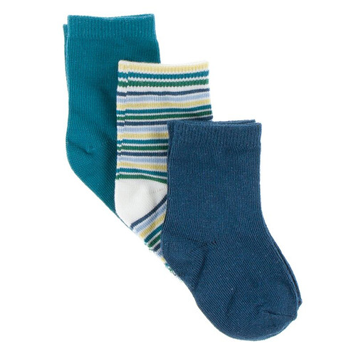 KicKee Pants Sock Set of 3 - Seagrass, Boy Perth Stripe, Twilight