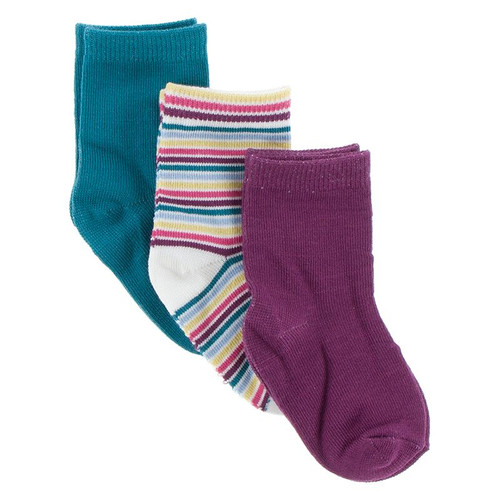 KicKee Pants Sock Set of 3 - Seagrass, Girl Perth Stripe, Starfish