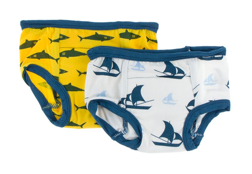 Kickee Pants Training Pants Set of 2 - Lemon Shark & Boy Natural  Sailboat