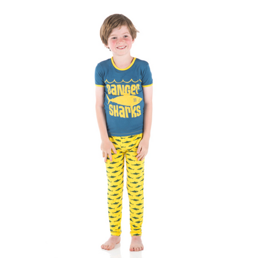 Kickee Pants Print Short Sleeve Pajama Set with Pants - Lemon Shark