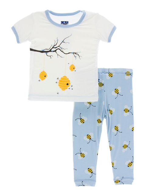 Kickee Pants Print Short Sleeve Pajama Set with Pants - Pond Bees