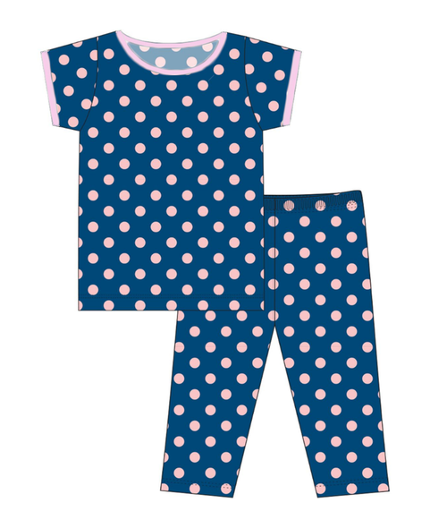 Kickee Pants Custom Print Short Sleeve Pajama Set with Pants - Twilight Dot with Lotus Trim