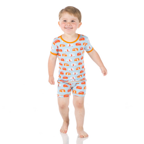 Kickee Pants Print Short Sleeve Pajama Set with Shorts - Pond Camper