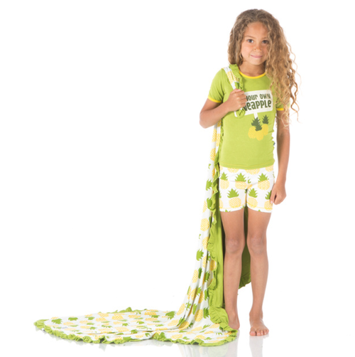 Kickee Pants Print Short Sleeve Pajama Set with Shorts - Natural Pineapple