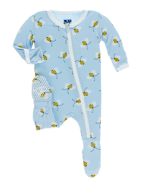 Kickee Pants Print Footie with Zipper - Pond Bees