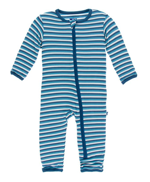 Kickee Pants Print Coverall with Zipper - Confetti Anniversary Stripe