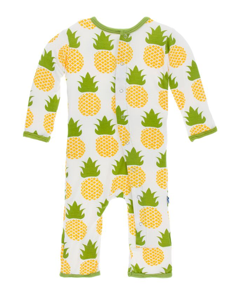Kickee Pants Print Coverall with Snaps - Natural Pineapple