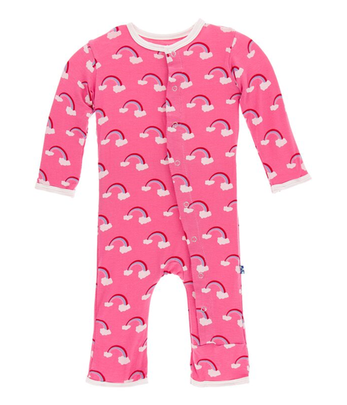 Kickee Pants Print Coverall with Snaps - Flamingo Rainbow