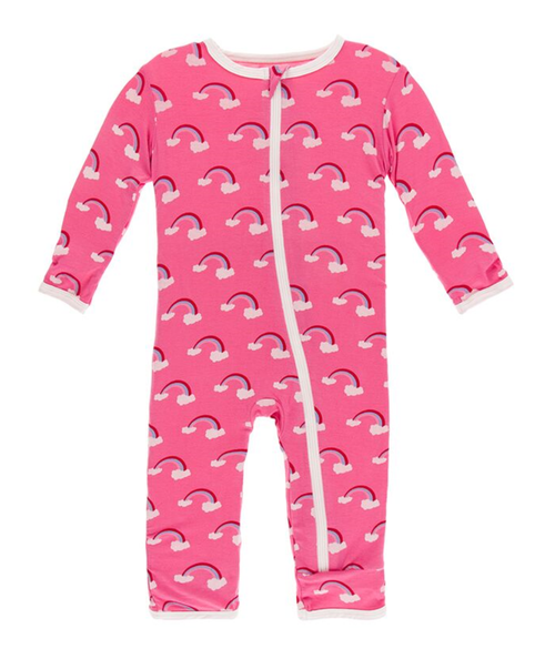 Kickee Pants Print Coverall with Zipper - Flamingo Rainbow
