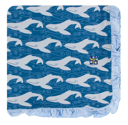 Kickee Pants Print Ruffle Toddler Blanket - Twilight Whale