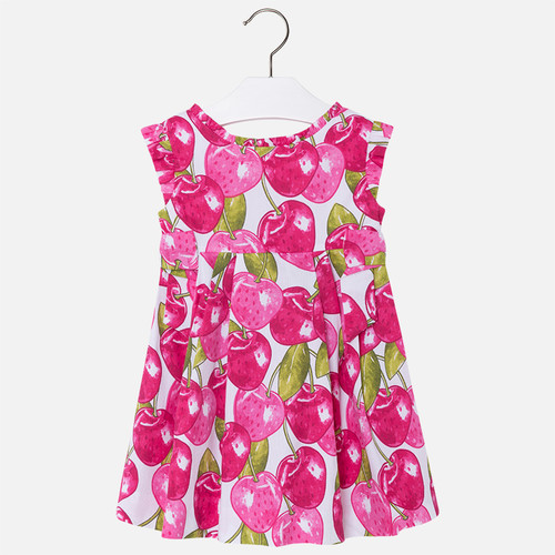 Mayoral Girls Cotton Pique Dress - Fuchsia