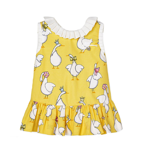 Mayoral Baby Girls Geese Dress - Yolk