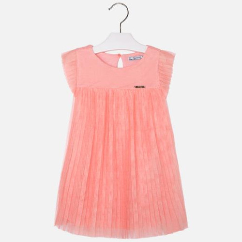 Mayoral Girls Plisse Tulle Dress - Flamingo