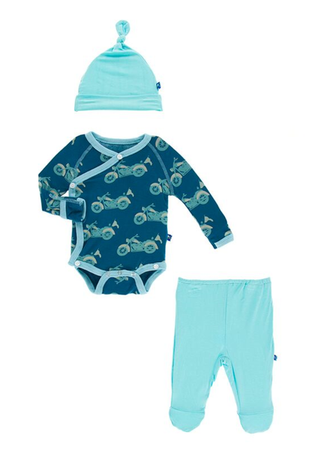 Kickee Pants Kimono Newborn Gift Set - Heritage Blue Motorcycle