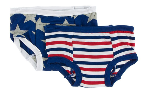 Kickee Pants Training Pants Set of 2 - Vintage Stars & USA Stripe