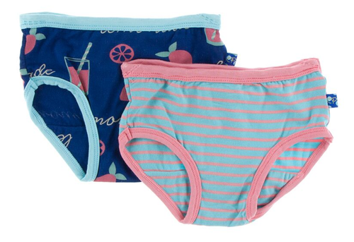 Kickee Pants Girl Underwear Set of 2 - Pink Lemonade & Strawberry Stripe