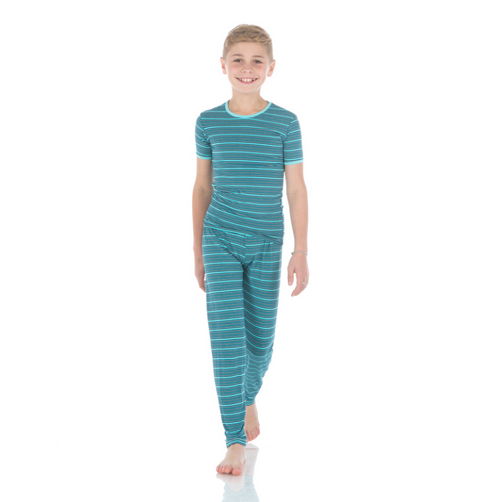Kickee Pants Print Short Sleeve Pajama Set with Pants - Shining Sea Stripe