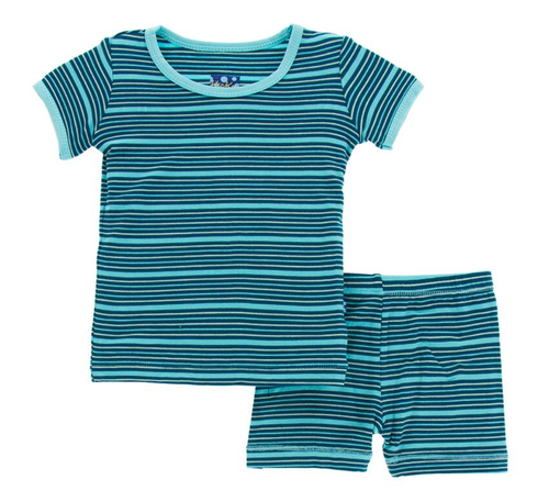 Kickee Pants Print Short Sleeve Pajama Set with Shorts - Shining Sea Stripe
