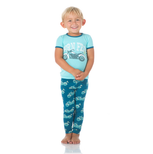 Kickee Pants Print Short Sleeve Pajama Set with Pants - Heritage Blue Motorcycle