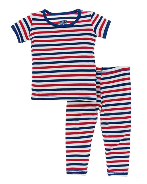 Kickee Pants Print Short Sleeve Pajama Set with Pants - USA Stripe
