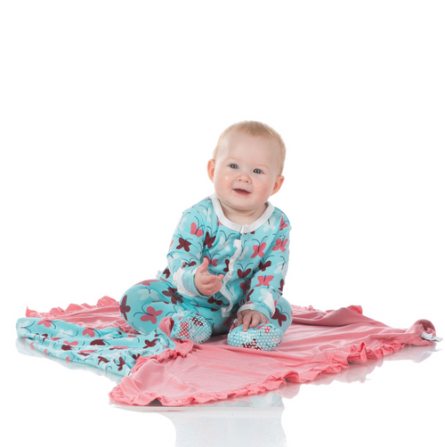Kickee Pants Print Ruffle Footie in Snaps - Tallulah's Butterfly